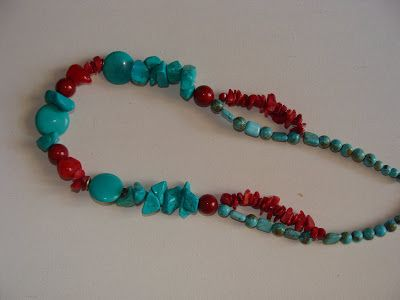 foto hand made jewels  Φωτεινή Μάμαλη: Koλιέ με τυρκουάζ και κοράλι!