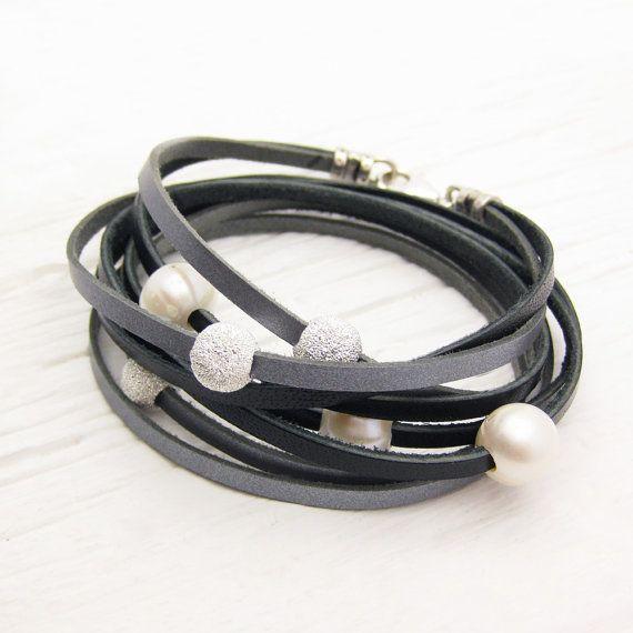 Black Silver Pearl Leather Wrap Bracelet / Fresh Water Pearl & Eco Friendly Leather / metallic grey dark rocker glam bohemian cuff inspired on Etsy, $97.00