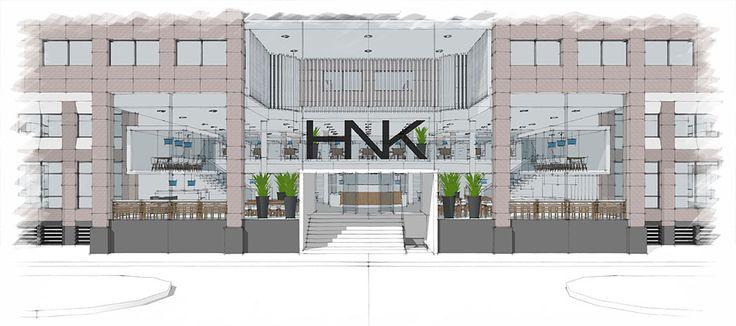 Conceptontwerp van HNK in Utrecht, waarbij de entree en diverse werkplekken ontwerpen zijn. Creëren van flexibiliteit en een warme huiselijke uitstraling waren design topics.