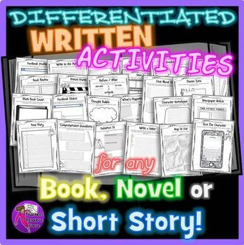 Differentiated Written Activities For Any Book, Novel or Short Story. This written activities resource for any book will encourage your students to review and reflect on their reading material in imaginative and creative ways, and these work with any book! | @resourceforce