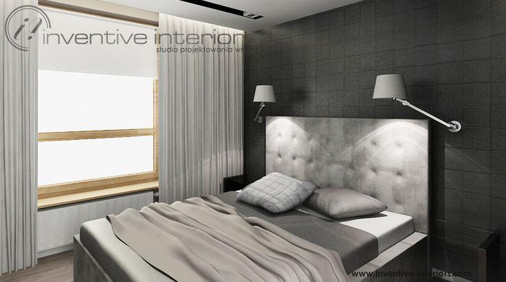 Projekt sypialni Inventive Interiors - sypialnia w męskim wydaniu - zestawienie beżu, szarości i czerni tworzy przytulne wnętrze