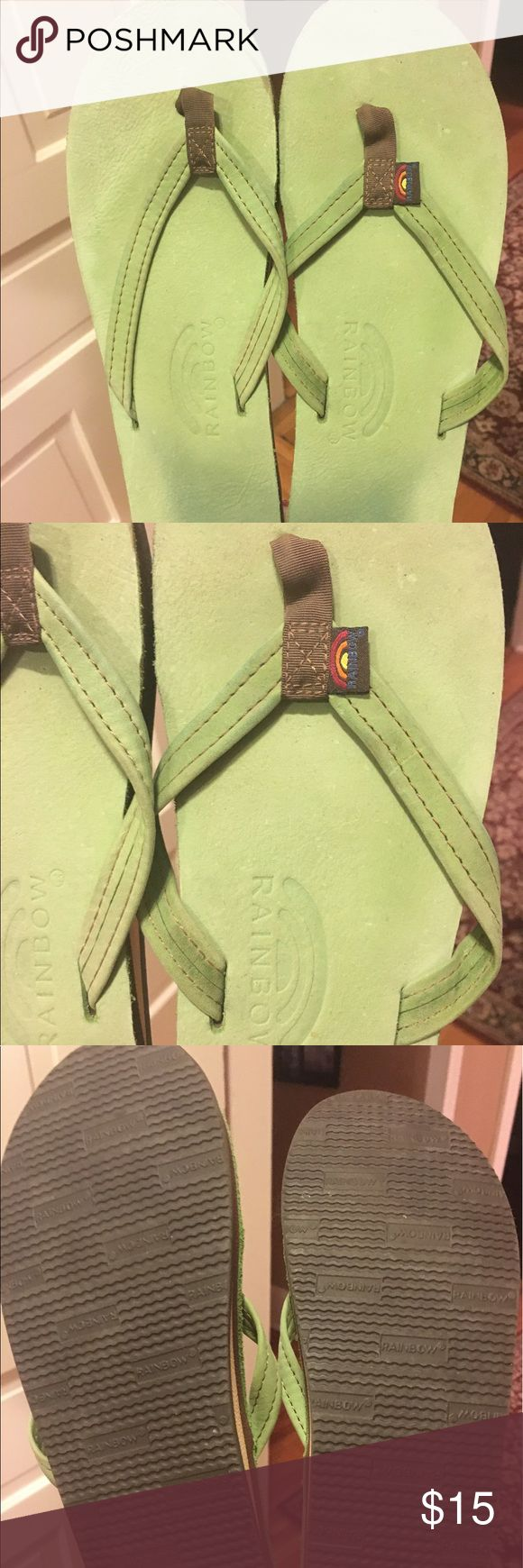 Women's Rainbow Lime Green Flip Flops L/XL Worn a few times. Lime green leather rainbow sandals. Fits women 8-10 Rainbow Shoes Sandals