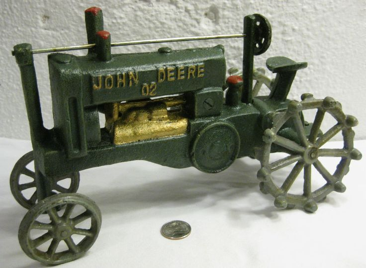 Iron Antique Tractors : Large vintage cast iron john deere toy tractor farm