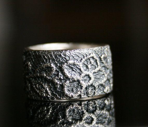 Lacey no 8  blanco plata  anillo de cordón de plata  hecho