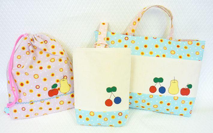 女の子の通学の3点セットは、フルーツのパッチワークで可愛らしく♡ Three-piece commuting kit for girls, featuring cute fruit patchwork of cherry! Enjoy commuting! #schoolbag #shoesbag #gymwearbag #cherry #sewing #handmade #JAGUAR