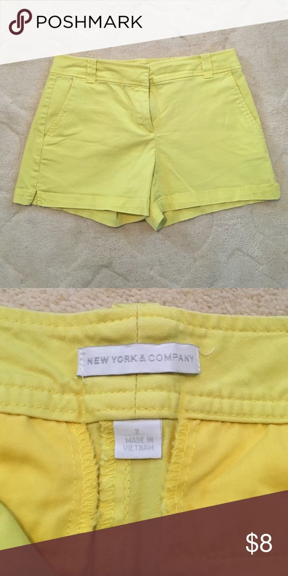 "Women's yellow New York and company shorts- sz 2 Excellent condition- pale yellow shorts, New York and company size 2. Inseam 4"" New York & Company Shorts Bermudas"