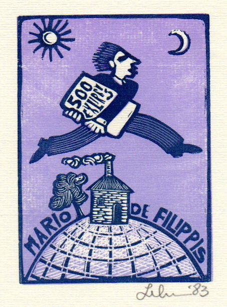 Bookplate by artist Leboroni, 1983