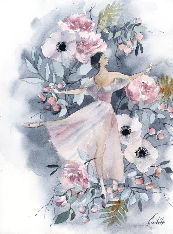 Ballerina Painting Original Watercolor Painting Dance Ballet