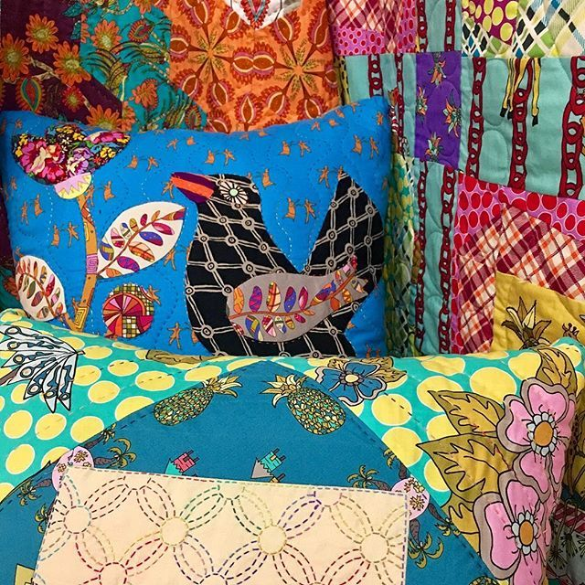 """Have you noticed Kathy Doughty's bright vibrant colorful playful """"Celebrate"""" fabric collection with FreeSpirit?  It is just so playful and fun! ❤️ I've been hoarding her fabric and have some things to share with you!! Kathy is such a wonderful quilter & fabric artist!!! ❤️ You recognize Kathy from Material Obsession and her IG profile @matobsgirl or @materialobession!  She is a published author and teacher instructing how to use mix media. ❤️ Her Celebrate fabric collection has large…"""