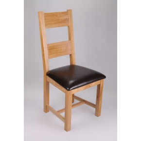 Warwick Solid Oak Dining Chair with Genuine Leather Pad www.easyfurn.co.uk