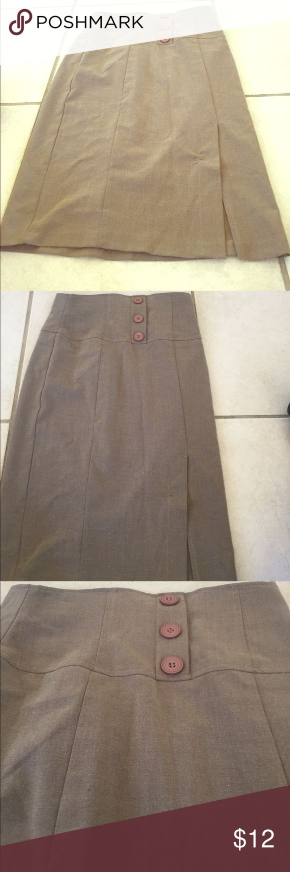 ❤️Beautiful soft brown pencil skirt medium❤️ Beautiful brown soft pencil skirt size medium by Xi good condition zip up and back fitted at waist pencil affect three buttons in the front to embellish as well as slit in the front true to size between a six and eight the skirt will fit A great staple skirt for your collection xi Skirts Pencil