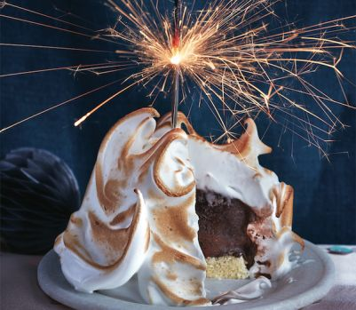 Baked Alaska with marshmallow frosting