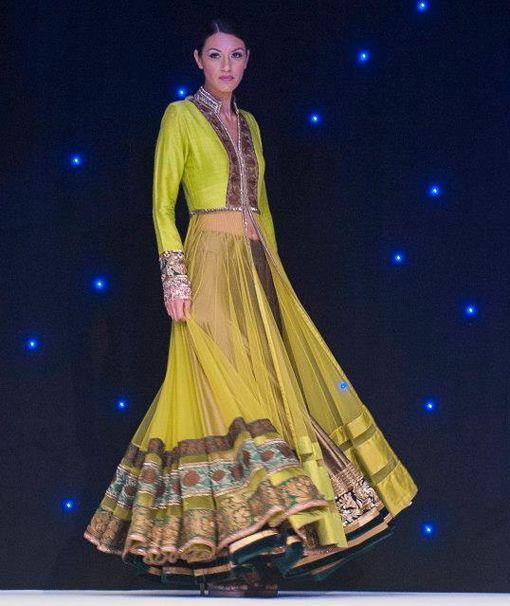 manish malhotra anarkali lengha gold yellow green indian wedding