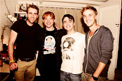 """The Boys of Harry Potter. Didn't see that coming :) I also enjoy that Rupert is wearing a """"how to succeed in business without really trying"""" shirt with Daniel on the front."""