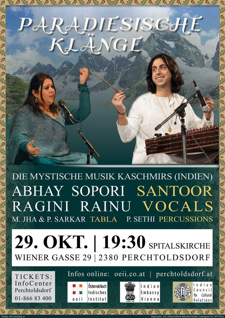OCT 29, 2013 - PERCHTOLDSDORF Spitalskirche: PARADIESISCHE KLÄNGE - Mystic Music from Kashmir with Santoor Maestro Abhay Sopori // Ragini Rainu - Vocals // M. Jha and P. Sarkar - Tabla // Details: oeii.co.at