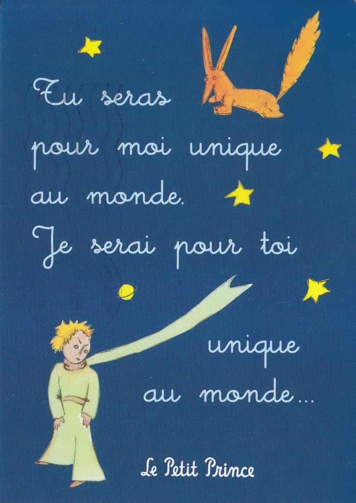 """""""You will always be unique to me in the world. I will always be unique to you in the world"""" Le Petit Prince, Saint-Exupery."""