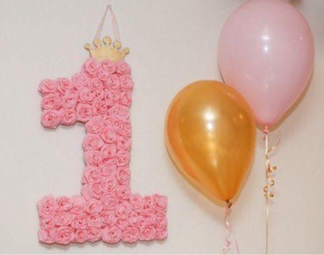 "Alejandra Gonzalez: DIY Pink Rosette Number ""1"" decor for Pink and Gold Princess party"