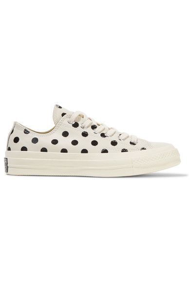 1 inch Off-white leather  Lace-up front polka dot converse