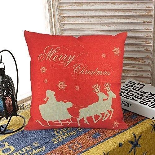 "Christmas Cushion Cover 18"" Lovely Cotton Linen Santa Deer Art Design Xmas Case  #easy_shopping08"