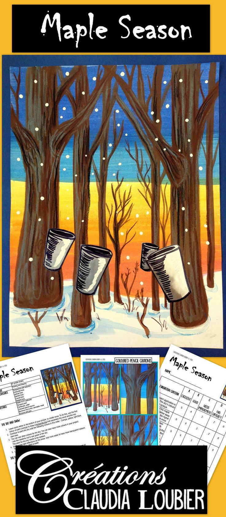 Art lesson, Maple sugar season has arrived! Work with many different kinds of lines in this original project. You need solid tempera paints, coloured pencil crayons and aluminum foil or thin, bendable metal. For grade 3 and up. Can be done with Grades 1 and 2 with more supervision. This 12 page document contains complete instructions, step-by-step photos and evaluation rubric.
