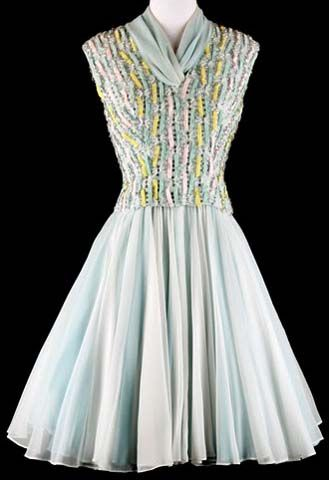 50s Blue Pat Sandler Beaded Cocktail Dress