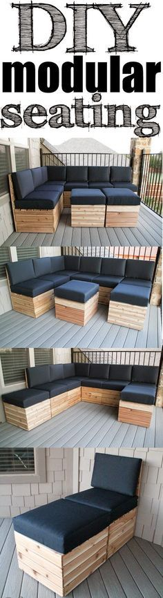 DIY Modular Seating! Easy build and you can build it/arrange it to fit your space! Free Plans!!!