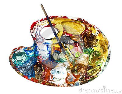Paint palette with paint brush with mixed colors