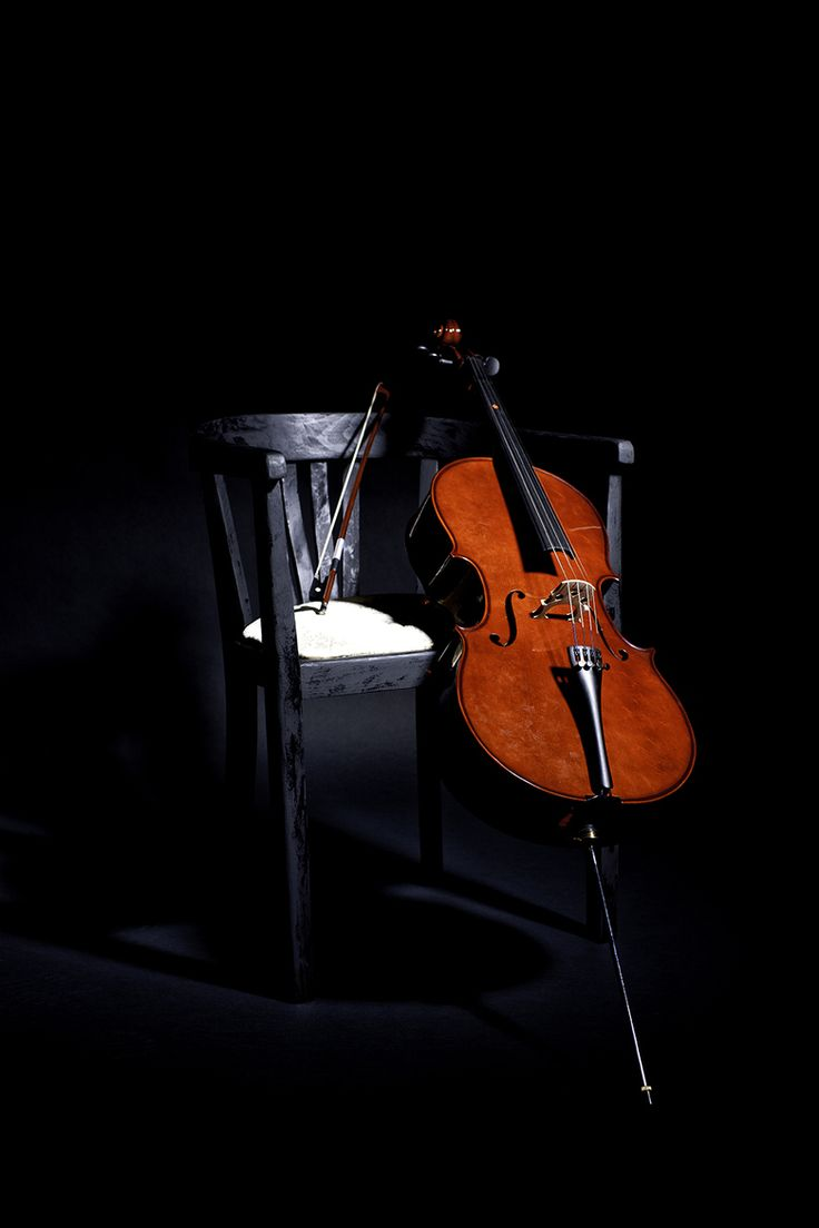 ♫♪ Music ♪♫ Musical instrument red cello black chair still life