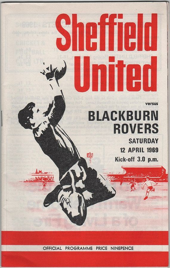 Vintage Football (soccer) Programme - Sheffield United v Blackburn Rovers 1968/69 season, by DakotabooVintage