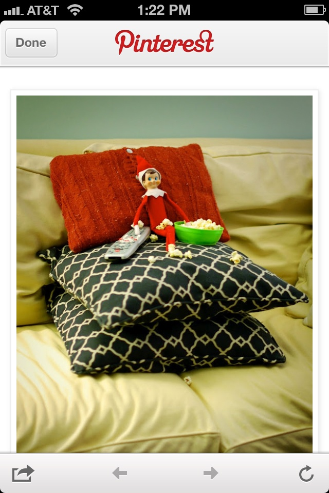 Elf on a shelf-Watching movies and eating popcorn