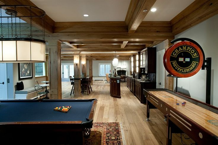 Game room with pub-style bar, shuffleboard, pool table, and more...