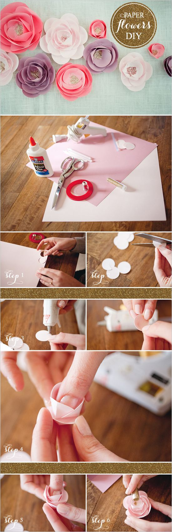 How to Make Paper Flowers: Paper Roses, Flower Tutorials, Diy'S Crafts, Flower Crafts, Paper Flower Tutorial, Diy'S Paper, Crafts Idea, Make Paper, Paper Crafts