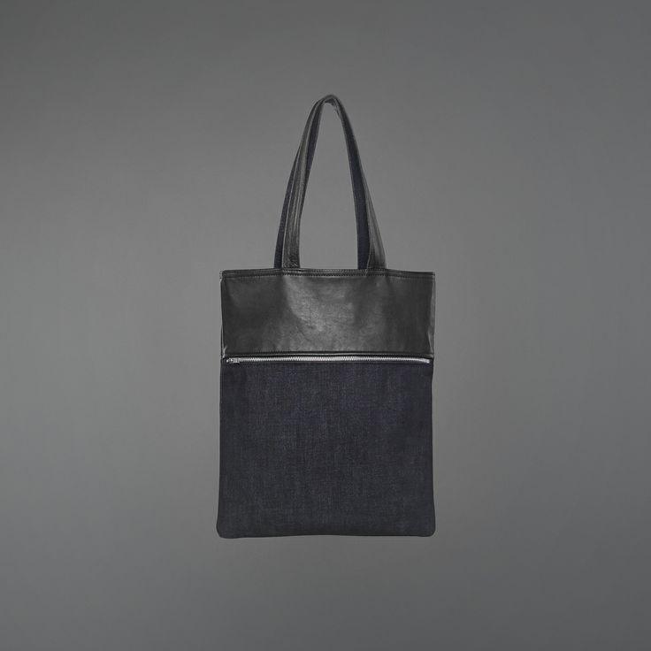 Axel Bag - denim & recycled leather http://ervinlatimer.com/product/axel-bag