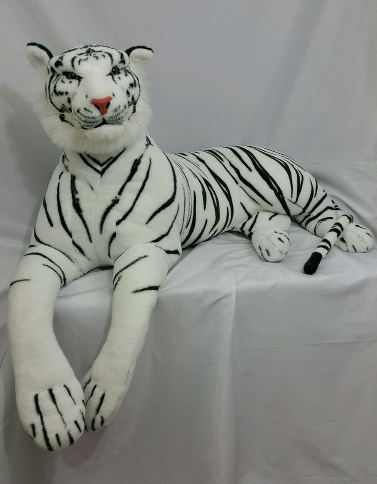 Huge White Siberian Tiger Stuffed Animal Plush Large Realistic Life Like Clean