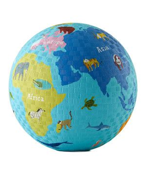 World Playground Ball  Junior will learn all about world geography (the continents and the animals that roam the planet) while playing a competitive game of kickball.   To buy: $10, landofnod.com.
