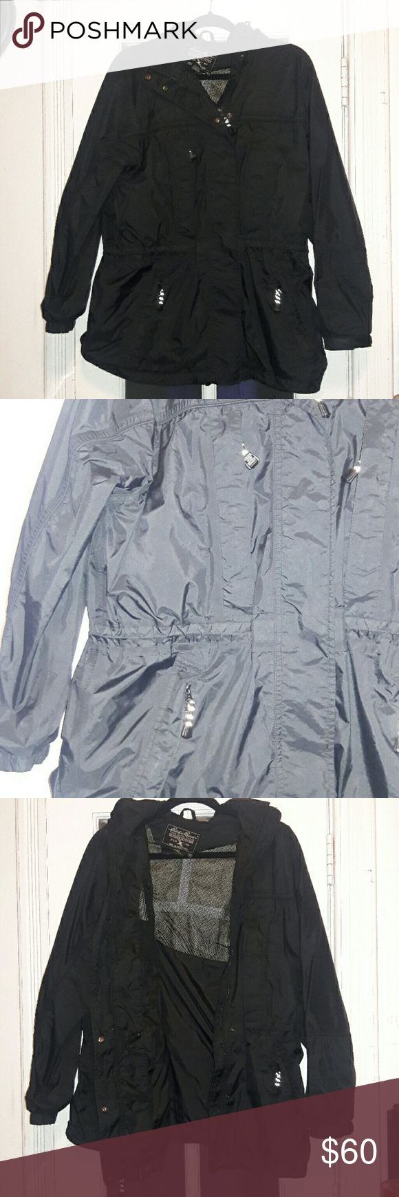 Eddie Bauer Rain Parka Womens Medium Mint condition worn once. Eddie Bauer brand black Rain Parka. There are 4 front zip pockets, the waist is adjustable, the hood is removable with a zipper, and the sleeves are adjustable. No rips holes or stains. Marked womens Medium it is a oversize fit, longer length (it covers my butt) comfy, has room for layering with another jacket. Eddie Bauer Jackets & Coats