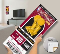 2013 NBA Finals Mega Ticket - Miami Heat. Printed on canvas and stretch mounted. Can be personalized with your exact seat, row, section.  Pretty cool