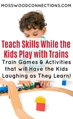 Playing With Trains; Train Games and Activities that will Have Kids Laughing as They Learn. Teach skills and concepts. #LearningThroughPlay #activitiesforkids #trains #autism