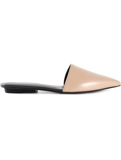 'Nude goat skin and leather open back Ballerinas from Narciso Rodriguez featuring a pointed toe and a flat heel.'