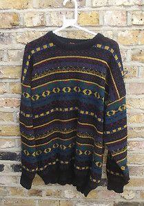 Vintage Multi Pattern 70's Chunky Knit Jumper - Large #vintage By Ra Ra Retro