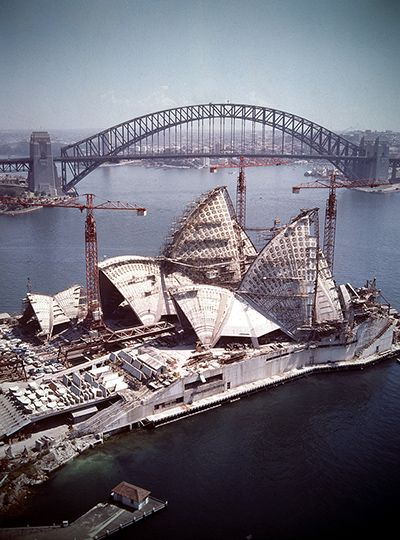 Construction of the Sydney Opera House in 1966