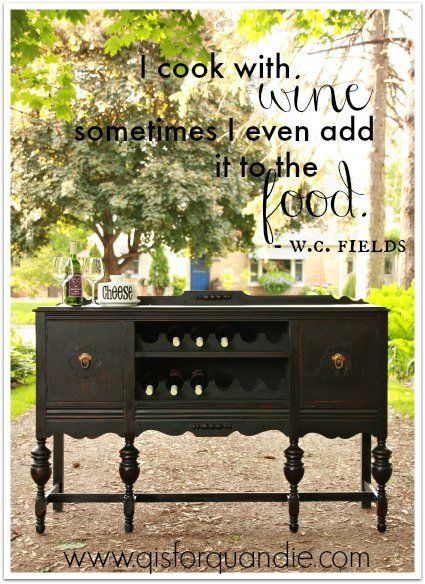 DIY Wood wine rack in antique buffet painted dark grey / gray or black.