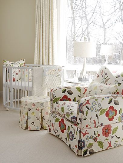 White on white with just enough prints to make this a lovely girl's nursery