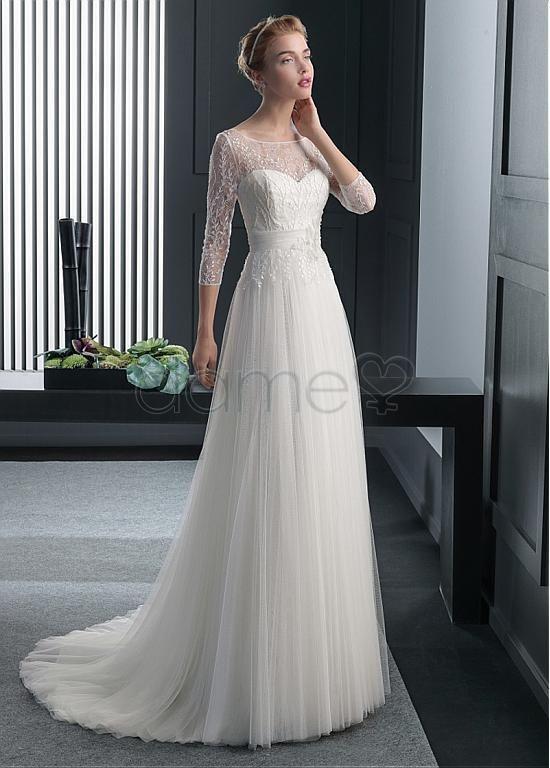 Meeresstrand A-Linie Tüll Spitze klassisches & zeitloses bodenlanges Brautkleider mit Ärmel