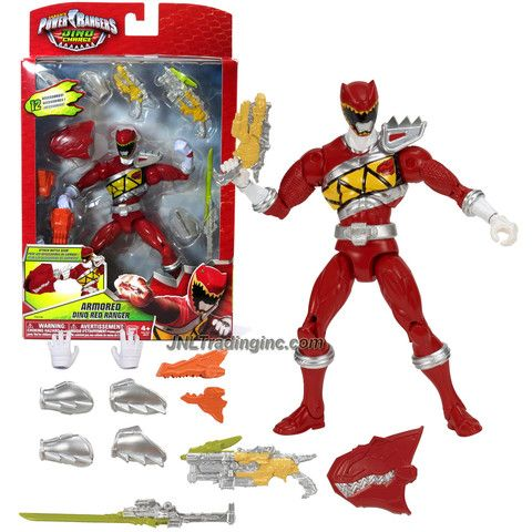 Bandai Year 2014 Saban's Power Rangers Dino Charge Series 7 Inch Tall Action Figure - ARMORED DINO RED RANGER with Sword, 2 Blasters, Extra Pair of Hands Plus More Accessories