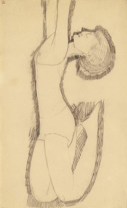 Modigliani, Anna Akhmatova as Acrobat c.1911, black crayon