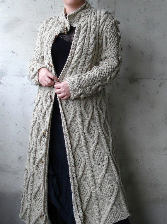 It is chunky, very soft and chic. It is extremely different and fashionable.    If you would like to wear unique and eye catching cardigan, it is perfect for you.    Handmade, unique, eye catching, and soft.    Size: Large US 12-14  Length: 45    material: Wool