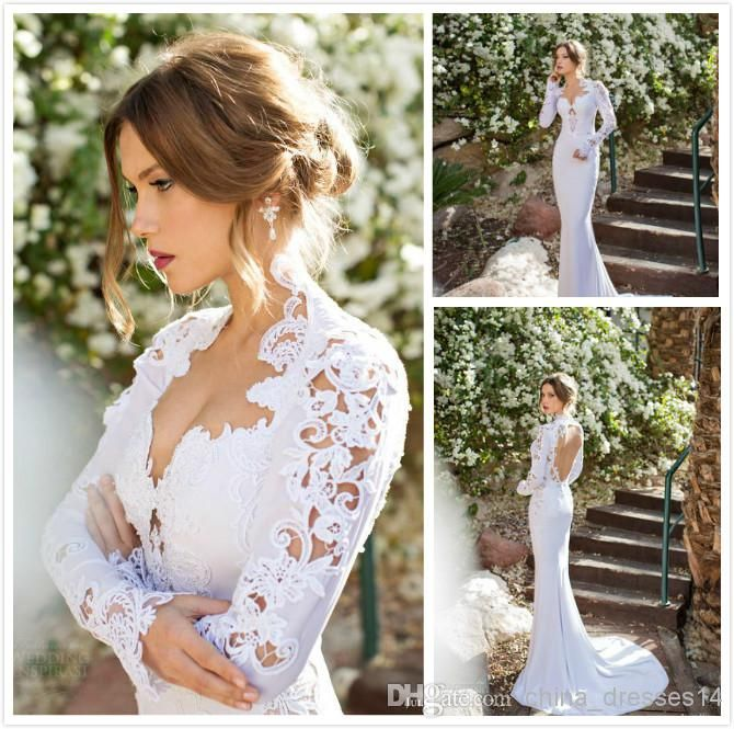 2014 New High Neck Long Sleeve Wedding Dresses Appliques Lace Sexy Open Back Vintage Wedding Gowns For Summer, $168.22 | DHgate.com