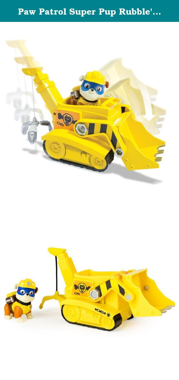 Paw Patrol Super Pup Rubble's Crane, Vehicle and Figure (works with Paw Patroller). Rubble is on the double! Rubble's Crane Vehicle saves the day with its moveable scoop and Crane! This pup and vehicle combination is loaded with Adventure Bay action! Go high up with the Crane and scoop up the pieces of scrap as Rubble rides inside. With real working treads, Rubble's Diggin' Crane Vehicle gets him where he needs to go! Dig deep with Rubble and the rest of the Paw Patrol by collecting the...