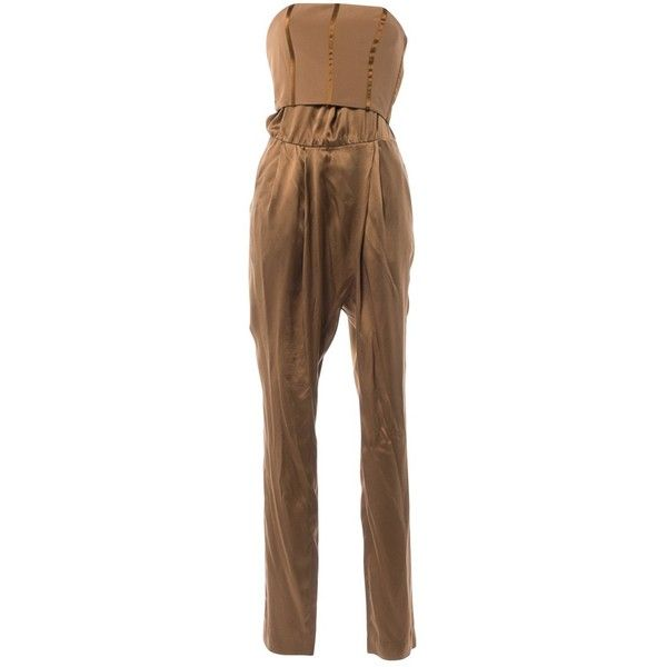 Pre-owned Gucci Silk Jumpsuit ($325) ❤ liked on Polyvore featuring jumpsuits, brown, women clothing jumpsuits, gucci, gucci jumpsuit, silk jumpsuit, brown jumpsuit and jump suit
